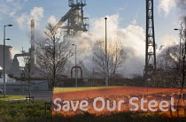 30-03-2016 - Save our Steel Community union banner, Tata Steel, Port Talbot, Wales © Paul Box