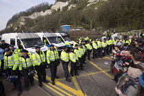 02-04-2016 - Kent Anti Racism Network protest against the National Front anti refugee protest Dover. © Jess Hurd