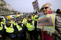 02-04-2016 - Kent Anti Racism Network protest against the National Front anti refugee protest Dover. Refugees welcome here © Jess Hurd