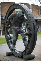 04-04-2016 - This Mortal Coil Sculpture by Sebastien Boyesen, honouring the steelworkers of Port Talbot, South Wales. A pink thong has been painted on © John Harris