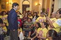 04-03-2016 - California, State Senate President Pro Tem Kevin de Leon speaking to domestic workers and their disabled clients as the state Senate debates a bill to make permanent the Domestic Workers Bill of Right... © David Bacon