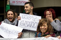 15-04-2016 - Stop DSEI arms fair direct action activists win case, Stratford Magistrates Court, East London Not guilty © Jess Hurd