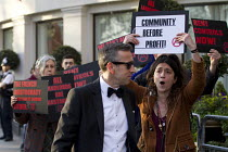 19-04-2016 - Social housing and anti-gentrification campaigners protesting, Annual Property Awards attended by luxury property developers, Grovesnor Hotel, Park Lane. London © Jess Hurd