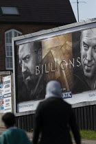 05-05-2016 - Advert for Billions a high finance drama whilst the economic gap between the rich and poor continues to widen, Cashs Lane Coventry Sky Atlantic TV channel © John Harris