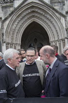 11-05-2016 - John McDonnell MP and Roy Bentham, Blacklist Support Group celebrate outside the Royal Courts of Justice after victory in their campaign for compensation for illegal blacklisting of construction worke... © Philip Wolmuth