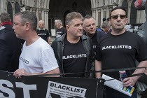 11-05-2016 - Blacklist Support Group outside the Royal Courts of Justice after victory in their campaign for compensation for illegal blacklisting of construction workers © Philip Wolmuth