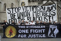 11-05-2016 - Blacklist Support Group celebrate outside the Royal Courts of Justice after victory in their campaign for compensation for illegal blacklisting of construction workers. © Philip Wolmuth