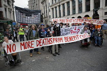 19-05-2016 - TUC Disabled Workers Conference and DPAC protest blocking Tottenham Court Road against benefit cuts and related deaths. London. © Jess Hurd