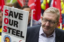 25-05-2016 - Len McCluskey, UNITE with Steelworkers marching to demand government support the steel industry, Save Our Steel, Westminster, London. © Jess Hurd