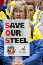 25-05-2016 - Charlotte Upton, Unite. Steelworkers marching to demand government support the steel industry, Save Our Steel, Westminster, London. © Jess Hurd