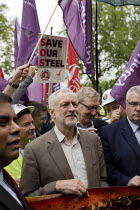 25-05-2016 - Jeremy Corbyn MP with steelworkers marching to demand government support the steel industry, Save Our Steel, Westminster, London. © Jess Hurd