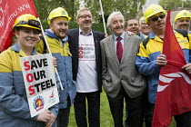 25-05-2016 - Dennis Skinner MP and Len McCluskey with steelworkers marching to demand government support the steel industry, Save Our Steel, Westminster, London. © Jess Hurd