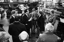 14-11-1983 - BPCC Park Royal, printers of the Radio Times, 1983. Robert Maxwell in heated discussion with Trade Union rep Peter Willliams, SOGAT Father of the Chapel at the printing plant. Following strike action,... © Stefano Cagnoni