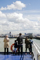 12-04-2016 - British family on a ferry as it leaves the port of Calais, France, heading across the English Channel to Dover in the UK. © Stefano Cagnoni