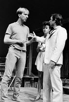 28-10-1983 - Alan Rickman, Tracey Ullman and Ron Cook acting in The Grass Widow, written by Snoo Wilson, Royal Court Theatre, London, 1983 © Stefano Cagnoni