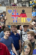 02-07-2016 - March for Europe against the Brexit EU referendum result, Central London, we're in a European Union my boyfriend is German © Jess Hurd