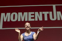 06-07-2016 - Francesca Martinez, Comedienne performing at Momentum, KeepCorbyn Labour Party rally for Jeremy Corbyn, Troxy, East London. © Jess Hurd