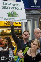 11-07-2016 - Commuters protest against the terrible service by Southern Rail, Victoria Station, London. Regular commuters complain the franchise has cut train services and they have experienced persistent delays a... © Stefano Cagnoni