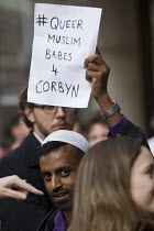 12-07-2016 - Gay, Muslim supporter outside Labour Party HQ after NEC meeting agreed to include Jeremy Corbyn on ballot for leadership challenge, London © Jess Hurd