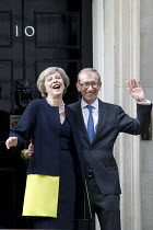 13-07-2016 - Theresa May and her husband Philip John May entering 10 Downing Street as the new Prime Minister, Westminster, London © Jess Hurd