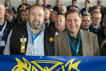 27-06-2016 - Las Vegas, Nevada - Fred Zuckerman (R) reform candidate for Teamsters president and his running mate, Tim Sylvester, with supporters during the convention. They are hoping to win against Teamsters Pre... © Jim West