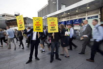 16-08-2016 - Action For Rail protest against rail fare rises and calling for public ownership, London Bridge Station, London © Jess Hurd