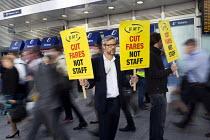 16-08-2016 - Action For Rail protest against rail fare rises and calling for public ownership, London Bridge Station, London. James Croy, RMT © Jess Hurd