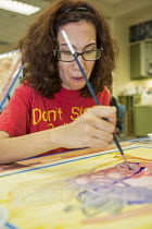 30-06-2016 - Las Vegas, Nevada, Fine Art Program for disabled by the nonprofit Opportunity Village. Artists are paid a commission on the sale of their artwork © Jim West