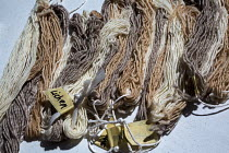 10-07-2016 - Ganado, Arizona, Navajo Nation, Wool that has been dyed with a variety of natural substances, including lichen, sagebrush, wild carrots, and nuts. Wool and Weaving Workshop, Hubbell Trading Post Natio... © Jim West