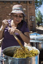 10-07-2016 - Ganado, Arizona, Navajo Nation, using natural materials, such as sagebrush, wild carrots, lichens, and nuts, dye wool. Wool and Weaving Workshop, Hubbell Trading Post National Historic Site © Jim West