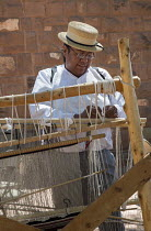 10-07-2016 - Ganado, Arizona, Navajo Nation, a Navajo blanket loom, Wool and Weaving Workshop, Hubbell Trading Post National Historic Site © Jim West