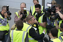 07-09-2016 - Mike Ashley talking to media as he gives a tour of Sports Direct warehouse, Shirebrook, Derbyshire © John Harris