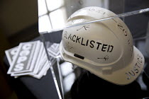 16-09-2016 - Blacklisted art helmet at Bullying and Blacklisting Conference, Greenwich University, South London © Jess Hurd
