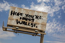 30-06-2016 - Las Vegas, Nevada, AntiWall Street graffiti billboard, Hope Youre Happy Wall Street © Jim West