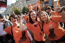 02-10-2016 - GMB members, anti austerity Protest, Tories Out, Austerity has Failed, Victoria Square, Birmingham © Jess Hurd