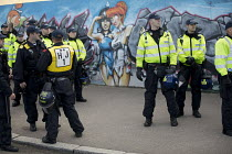 22-10-2016 - Riot police and Flintstones graffiti, racist White Lives Matter protest, Margate, Kent © Jess Hurd