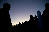 27-10-2016 - Refugees queuing at dawn for buses outside the reception centre only to be refused, The Jungle camp eviction, Calais, France © Jess Hurd