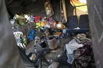 26-10-2016 - Belongings left behind in Refugees shelters, eviction from The Jungle camp prior to a demolition by French authorities. Calais, France © Jess Hurd