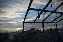 26-10-2016 - Burnt out remains after the eviction of refugees from the Jungle camp, Calais, France © Jess Hurd