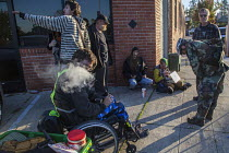 03-11-2016 - Berkeley, California, Homeless community activists after being forced to disband their camp in front of the homeless service agency Impact HUB on Adeline Street. It is a protest against policies by Be... © David Bacon