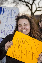 10-11-2016 - Detroit, USA, Students protest against the election of Donald Trump as U.S. President, Wayne State University: Nasty Woman © Jim West