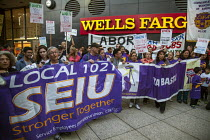 10-11-2016 - Oakland, California. Rally against Wells Fargo Bank who have financed the Dakota Access Pipe Line by unions and activists opposing construction and in solidarity with the Standing Rock Sioux water pro... © David Bacon