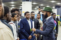 14-11-2016 - Detroit, Michigan: Edmund Lewis of Minority Males for Higher Education speaking to young African American men, job fair sponsored by the nonprofit My Brother's Keeper © Jim West