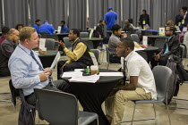 14-11-2016 - Detroit, Michigan - Young African American man in a job interview, job fair sponsored by the nonprofit My Brother's Keeper © Jim West