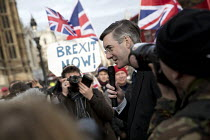 23-11-2016 - Jacob Rees-Mogg MP speaking, Brexit Feet in London, UKIP and far right supporters calling for Article 50. Westminster, London. © Jess Hurd