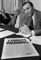 10-11-1979 - Harold Musgrove (L) Rover Group press conference November 1979 Trade unions given a Three Minute Warning to end their strike for the reinstament of sacked Convener Derek Robinson © John Harris