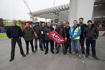16-12-2016 - RMT rep Unjum Mirza supporting ASLEF Southern network train drivers strike in a safety dispute about who should operate the train doors. London Bridge Station. © Jess Hurd