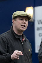 16-12-2016 - Eddie Depsey speaking RMT cleaners protest outside GWR HQ, Swindon. They are on strike over serious bullying, claims of discrimination, poor working conditions and low pay on the Great Western Railway... © John Harris