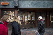 16-12-2016 - Virtual cafe bar shopfront The Broadway installed by Swindon Borough Council to encourage redevelopment, Swindon Shopping precinct, Wiltshire © John Harris