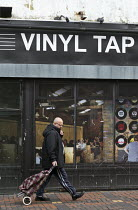 16-12-2016 - Virtual record shop and cafe Vinyl Tap shopfront installed by Swindon Borough Council to encourage redevelopment, Swindon Shopping precinct, Wiltshire © John Harris